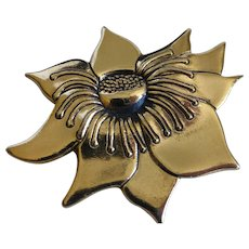 Laurel Burch Flower Pin Brooch Gold Tone