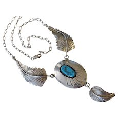 Melissa Yazzie Navajo Turquoise Nugget Sterling Silver Necklace Signed Native American Indian
