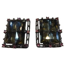 Sarah Coventry Midnight Magic Smokey Gray Glass Earrings w Pink Rhinestones