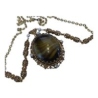 Vintage WEST GERMANY Faux Agate Pendant Necklace Filigree AB Rhinestone and Faux Pearls