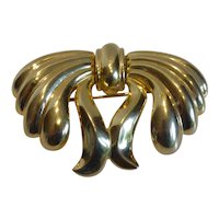 Large Monet Gold Tone Bow Brooch Pin