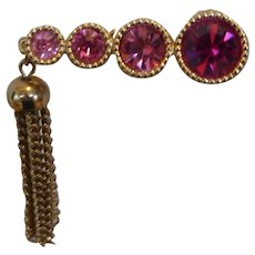 "Sarah Coventry ""Saucy"" Pink Rhinestone Tassel Brooch Pin"