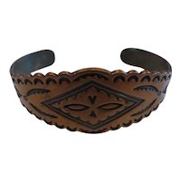 Vintage Solid Copper Cuff Bracelet Native American Indian Design