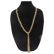 Vintage 1940s Braided Brass Seed Bead Multi Strand Necklace with Tassel