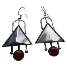 Vintage Carnelian Sterling Silver Modernist Earrings