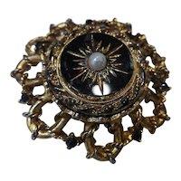 Vintage Etruscan Carved Black Glass Sunburst Faux Pearl Brooch