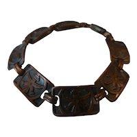 Zuni Knifewing Copper Link Bracelet