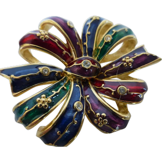 Vintage Joan Rivers Enameled Bejeweled Ribbon Bow Brooch Pin