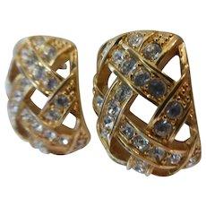 Swarovski Crystal Earrings Half Hoop Lattice Gold Tone Signed