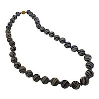 Vintage Chinese Blue & White Swirl Glass Bead Necklace