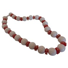 Vintage Red and White Molded Early Plastic Necklace
