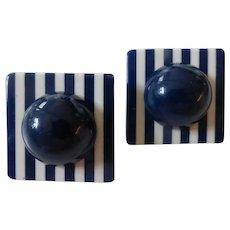 Vintage 1960's Lucite Plastic Blue & White Earrings