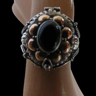 Sterling Silver 14K Gold Black Onyx Locket Ring Poison Ring
