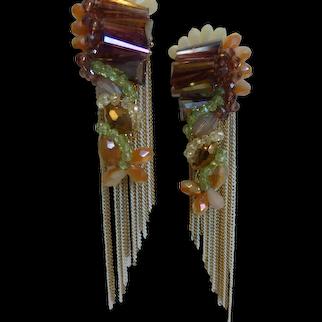 Chandelier Glass Bead Metal Chain Fringe Earrings