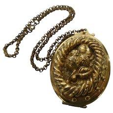 Antique Locket Necklace with Dog Portrait
