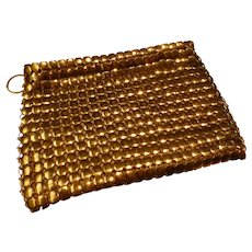 Vintage Whiting and Davis Gold Metal Mesh Coin Purse Pouch
