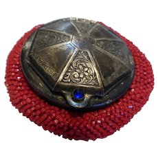 Antique Tam O' Shanter Red Glass Beaded Coin Purse Silver Plated Lid