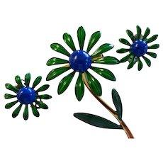 Vintage 1960's Enamel Metal Flower Power Brooch Pin Earrings Set