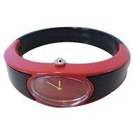 Fabulous 1960's Alfex Swiss Women's Red & Black Plastic Bracelet Watch