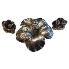 G. Cini for Gump's Sterling Silver Hibiscus Flower Brooch Earrings Set
