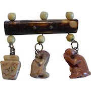 1926 Folk Art Carved Stone Charms and Bone Beads on Natural Bamboo Pin Brooch