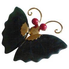 Vintage Jade and Enamel Butterfly Brooch Pendant