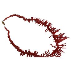 Natural Salmon Branch Coral Necklace