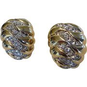 Vintage Kenneth Jay Lane JKL Gold Tone Crystal Rhinestone Earrings