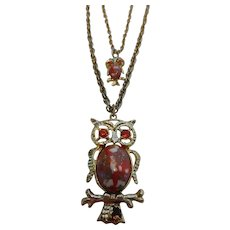 Vintage Double Owl Jelly Belly Necklace on Double Chain