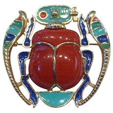 Hattie Carnegie Egyptian Revival Enamel Scarab Pendant Brooch Pin