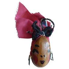 1940s Folk Art Black Americana Head Brooch Pin of Lady w Bandana Hand-Painted