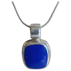 Lapis Sterling Silver Heavy Pendant Necklace Taxco Mexico
