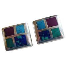 Sterling Silver Stone Inlay Earrings with Turquoise, Lapis, Sugilite Taxco Mexico