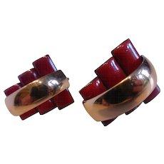 Vintage Modernist MATISSE Renoir Peter Pan Red Enameled Copper Earrings