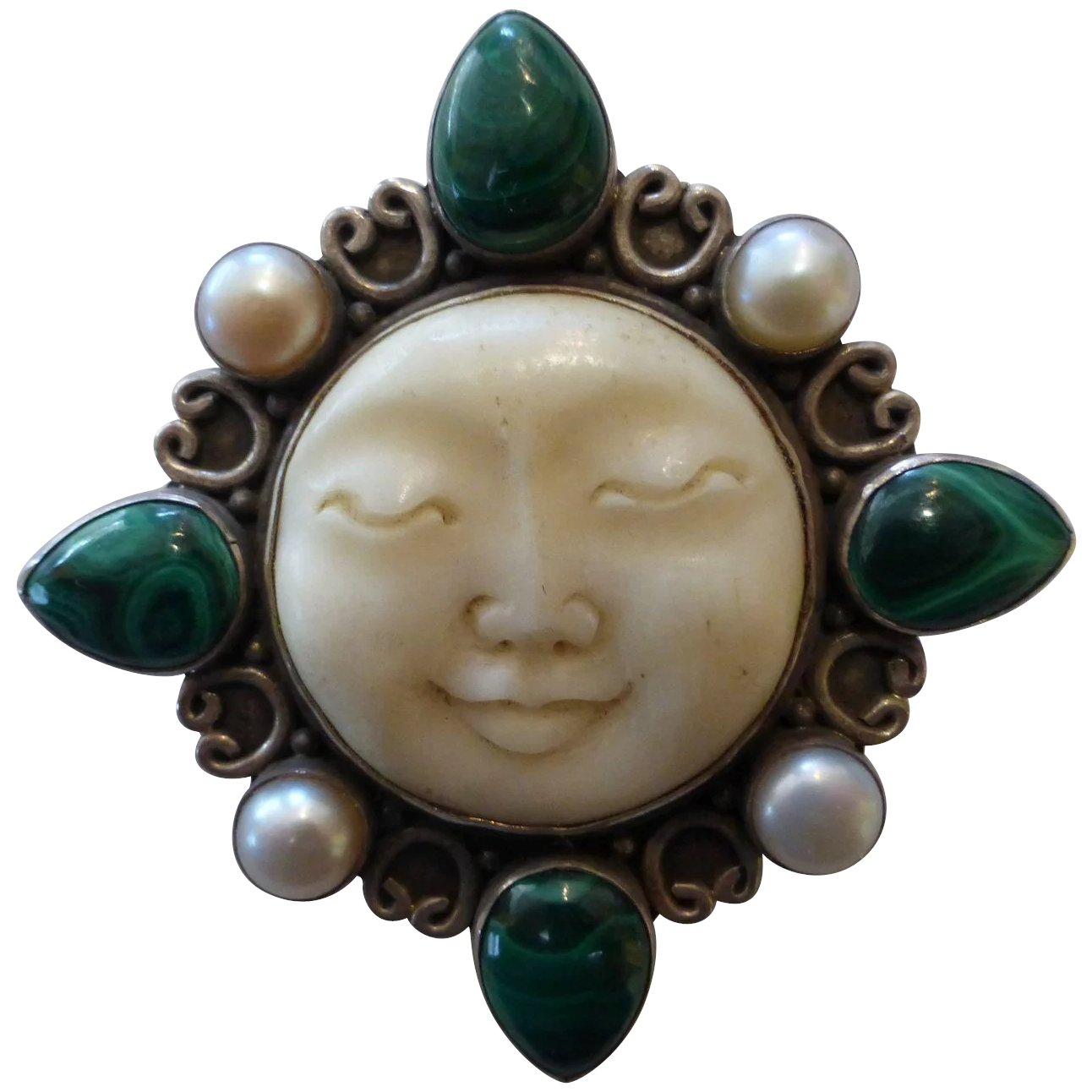 Sterling Silver Carved Bone Moon Face Malachite And Pearl Brooch Historique Ruby Lane