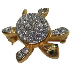 Vintage Joan Rivers Baby Sea Turtle Pin Swarovski Crystals Gold Plate