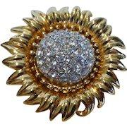 Vintage Joan Rivers Golden Sunflower Brooch Pave Set Crystal Rhinestones Book Piece
