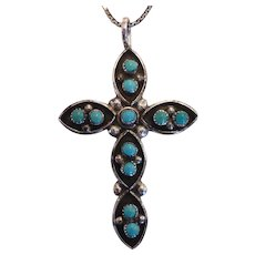 Native American Indian Zuni Sterling Silver Turquoise Cross Pendant Necklace