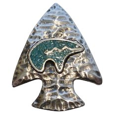 Vintage G&S Sterling Silver Turquoise Arrowhead Bolo Slide