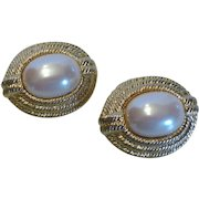 Vintage Signed Givenchy Faux Mabe Pearl Earrings