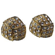 Swarovski Signed Clear Crystal Gold Tone Earrings