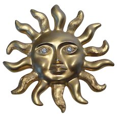 Vintage Avon Sun Face Brooch Pin Pendant