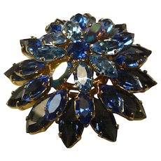Exquisite Shades of Blue Crystal Rhinestone Brooch...Made in Austria