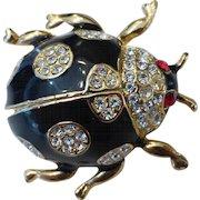 Vintage Bejeweled Black Enamel Rhinestone Ladybug Brooch Pin