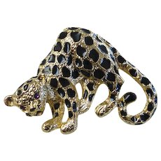 Vintage Park Lane Enameled Leopard Brooch Signed