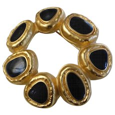 Vintage Gold Tone Black Enamel Modernist Circle Pin Brooch