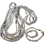 Freshwater Pearl Malachite and Amethyst 3-Strand Necklace and Bracelet Set