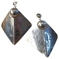 1970's Modernist Large Sterling Silver Earrings Sculptural