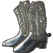 Vintage Signed Seagull Pewter Cowboy Boots Pin Brooch Canada