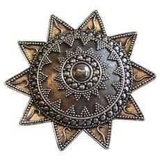 Vintage Sterling Silver Sun Pin Brooch